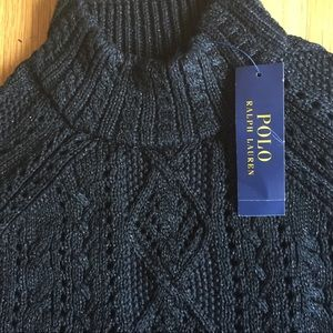 Polo RalphLauren Black Open Weave Metallic Sweater